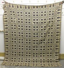 "Antique COVERLET ~ HAND MADE ~ Museum Quality Stitching ~ 75"" x 85"" vintage old"