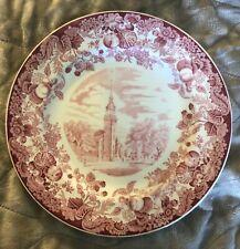 Wedgwood of Etruria Red Transferware Plate Harvard University Old Meeting House