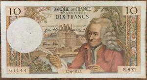 Billet de 10 francs VOLTAIRE 7 - 9 - 1972 FRANCE  E.822