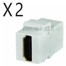 2 Pack Lot - HDMI Keystone Wall Plate Snap-In Jack Insert Coupler Female - White