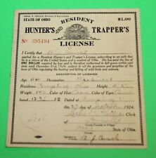 Antique Rare 1924 Resident Ohio Hunting and Trappers License - Cloth Back - #11
