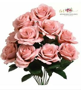"""12 Mauve Roses 4"""" Open Roses Artificial Silk Wedding Flowers Bouquet Fake Dusty"""