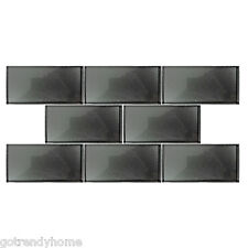 "SAMPLE- Gray Metallic Shine 3""x6"" Subway Glass Mosaic Tile Kitchen Backsplash"