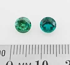 EMERALD Colored Gemstones - Pair of 5.6mm round cuts  x2 - FREE POST