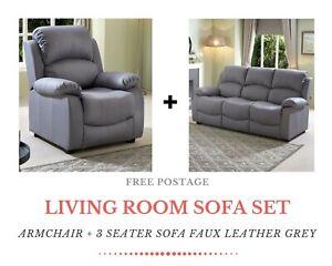 BANBURY Luxury Living Room 3+1 Sofa Set Faux Leather Grey