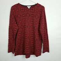 J Jill WOmens Sweater Size S Red Floral Pullover Long SLeeve Tunic Scoop Neck