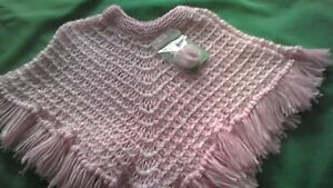 Hand-knitted  child's pink and white poncho  age 2