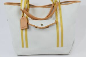 DOONEY & BOURKE White Canvas Yellow Stripes Extra Large Tote Bag