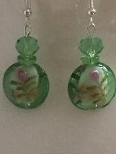 Green Glass  Dangle Earrings With Hand Etched Flower Pattern Silver Plated