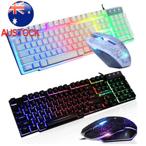 Gaming Keyboard and Mouse Set T6 for PC Laptop Backlight Rainbow Ergonomic Usb