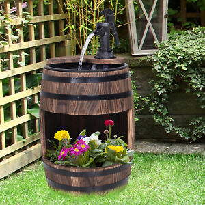 Wood Barrel Pump Fountain Water Feature w/ Flower Planter Garden Decor