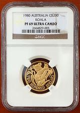 1980 Australia Koala $200 Gold Proof  KM# 71 NGC PF69 Ultra Cameo