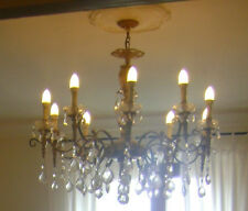 lampadario antico in bronzo dorato e gocce taglio diamante Sec. XIX 10 luci