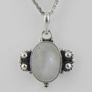 Solid 925 Sterling Silver Rainbow Moonstone Pendant Necklace Women PSV-2121