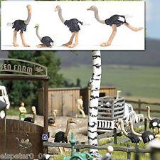Busch 1194, 4 Struzzi, H0 Mondi In Miniatura Kit 1:87