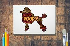 More details for poodle dog word art canvas a4 a3 a2 a1 mothers day gift personalised option