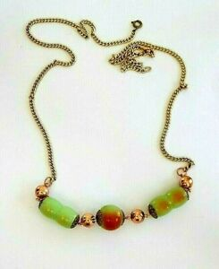 Necklace Vintage 1960s Bakelite Type Celluloid Green Blush Bead Resell UK