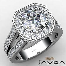 Split Shank Round Diamond Engagement Halo Ring GIA F VS1 18k White Gold 2.84ct