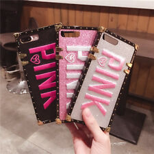 3D Embroidery PINK Glitter Square Phone Case Cover For iPhone XS Max 8 Plus 7 6s