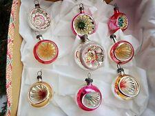9 Vintage Mercury Glass Concave Christmas Tree Baubles Decorations Xmas