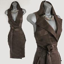 Karen Millen Brown Snake Print Silk Trench Style Formal Casual Dress UK12 EU40