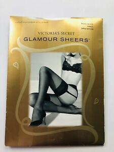 Victorias Secret Sheer Stockings 2 Pairs Glamour Sheers Pure White Small New