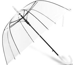 Clear Dome See Through Transparent Auto Open Wedding Brolly Umbrella