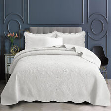 3 Piece Cotton Quilted Bedspread Bed Throw Single Double King Size Comforter Set