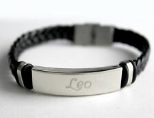 LEO - Bracelet With Name - Leather Braided Engraved - Gifts For Him
