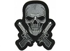 """(G24) SKULL with GUNS 3.5"""" x 4.25"""" iron on patch (4960) Biker Chrome colored"""
