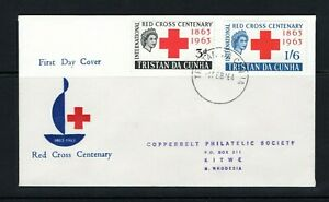 1964 QEII Tristan Da Cunha Red Cross set on illustrated FDC to Northern Rhodesia