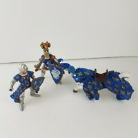LOT OF 3 PAPO Jousting Horse Figure Fleur De Lis French Knights MEDIEVAL 2000s