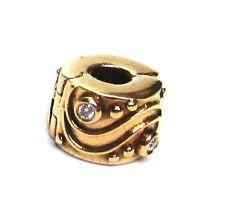 "Pandora ""Babbling Brook"" 14k Gold with Diamonds Clip Retiired  NEW"