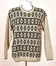 Liberty Sweaters Men's Medium Brown Diamond Cotton Acrylic Long Sleeve Sweater