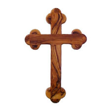 "Olive Wood 14 Stations Budded Eastern Wall Christian Cross Crucifix 14 cm 5.5"""