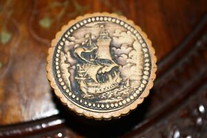 Vintage Hand Carved Russian Jewelry Box Made of Birch Bark