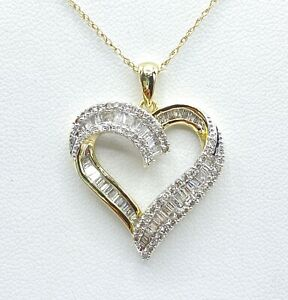 1.02 ct NATURAL DIAMOND heart pendant necklace SOLID yellow GOLD