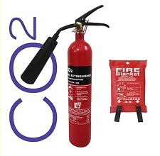 NEW 2 KG CO2 FIRE EXTINGUISHER WITH FIRE BLANKET OFFICE HOME WORK ELECTRICAL CE