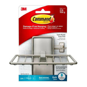 3M Command Bath Soap Dish Holder Adhesive Holds 2lb Satin Nickel 1 Dish 2 Strips