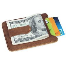 Men's Unisex Brown Leather Money Clip Cash Credit Card Holder Slim Wallet Gift