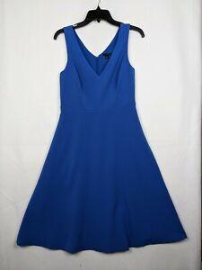 Ann Taylor LOFT Women's A-line blue Solid casual V-neck DRESS Size 0