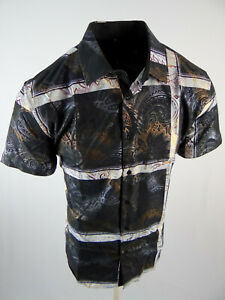 Mens Short Sleeve Shirt Black Striped Gold Metallic Paisley Stretch Button Up