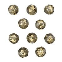 Transparent Grey 10mm Faceted Crystal Round Glass Beads - Pack of 10 (C33/3)