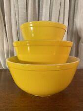 3 Pc Set Vintage Pyrex Bright Yellow Mixing Bowl Set  300 Series 401, 402 & 403