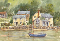 John A. Case - Contemporary Watercolour, Harbourside Cottage