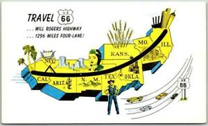 ROUTE 66 Roadside Postcard Highway 66 Travel Map c1960s Chrome
