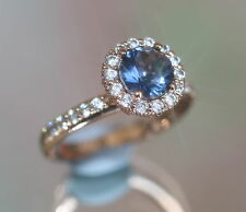 Rose Gold GF Created Sapphine & Diamond Flower Ring, Size L / 6