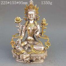 Tibet Silver Copper Gilt Tibetan Buddhism Statue -- Green Tara Buddha