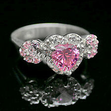 925 SOLID SILVER Created Pink Sapphire & Simulated Diamond Ring