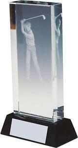 High Quality Crystal Golf Awards Hologram inside Crystal FREE ENGRAVING